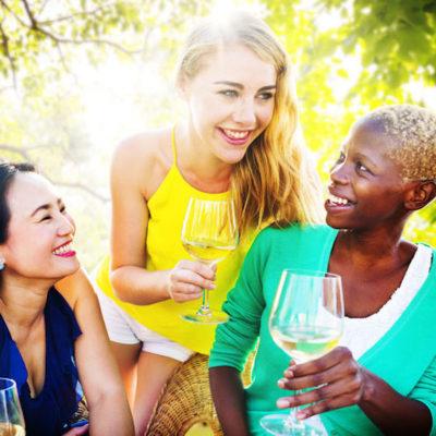 Women enjoying happy hour