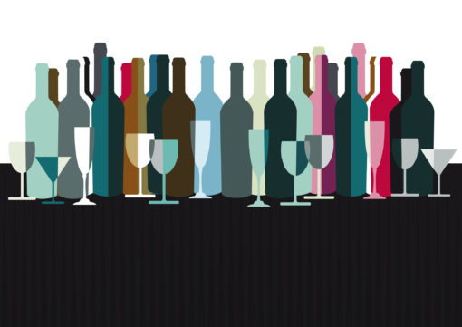 spirits and wine bottles vector illustration