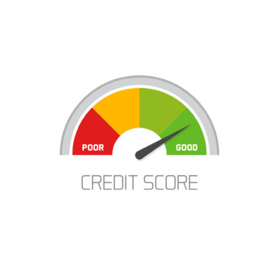 credit score scale showing good value vector icon isolated on white background, flat colorful financial history assessment of credit score meter