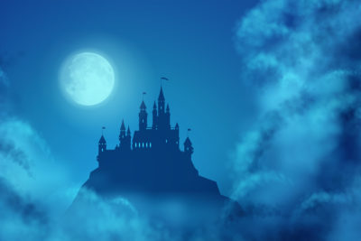 Castle vector image with clouds and moon